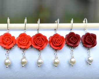 Red Rose and Pearls Earrings, Dangle Rose Earrings, Red Rose Earrings, Rose Earrings, Flower Earrings
