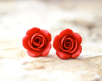 Red Rose Stud Earrings, Red Flower Earrings, Red Rose Post Earrings, Red Christmast jewelry Theme