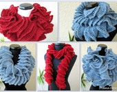 CROCHET SCARF PATTERN, Ruffle Scarf Crochet Pattern, Unique Scarves, Diy, Easy Crochet Scarf Pattern, Digital Download Pdf Pattern No.65