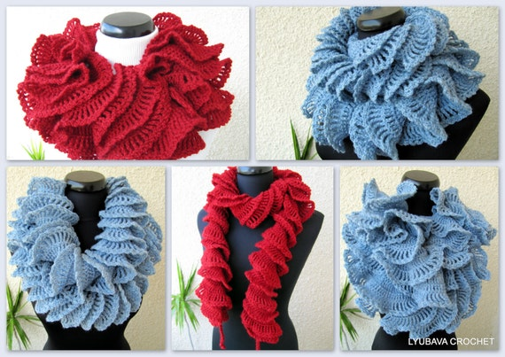 Crochet Scarf PATTERN Ruffle Scarf Pattern Unique Crochet