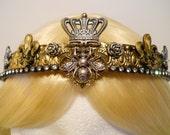 Queen Bee Crown, Gold, Honey Bee, Tiara, Filigree for a Princess, French, Fleur de Lis, Bumble Bee, Game of Thrones Burning Man Regin, Royal