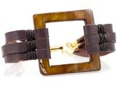 Leather Shell Cuff Bracelet/ beach style/ beach jewelry/ square jewelry/ bridesmaid jewelry/ cuff bracelet/ unique jewelry