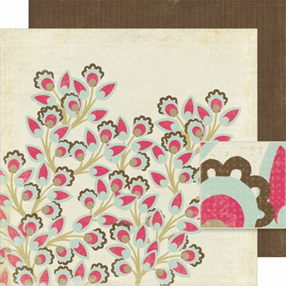 Scrapbook PAPER / Crate Mia Collection Cherry Blossom / 12x12 in / Pink Brown / 4 SHEETS