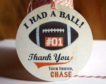 FOOTBALL Party Favor Tag, Football Gift Tags, Personalized with Any Age, Any Team Color, Any Jersey Number, Team Player or Roster Welcome
