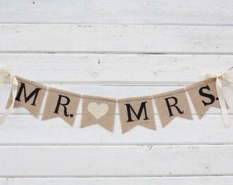 Mr. & Mrs. burlap banner - HEART- Wedding Banner - Photography prop