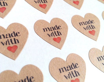 108 Made with love stickers - 3/4 inch heart stickers - brown kraft hearts envelope seals white heart stickers