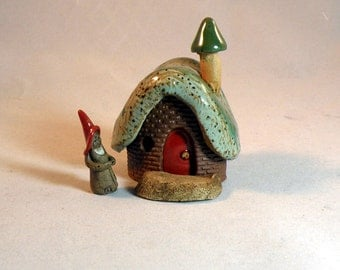 Gnome Home with Gnome - Miniature - Terra Cotta and Stoneware Pottery Sculpture - red door