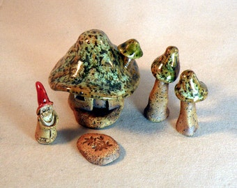 Gnome Home...Yes I have to Duck....Tiny Toadstool Inspired Home...Ceramic Stoneware Pottery Sculpture