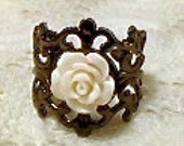 White Cabochon Rose Ring