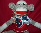 Houston Texans Football Brown Red Heel Classic Sock Monkey Doll