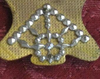 Antique Half Buckle Slide WIth Cut Steel Decoration - Vintage Supplies, Finding - Brass Gold Tone Metal
