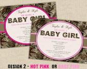 "ECONOMY Photo Prints 4""x6"" - Girl Hunting Camo Baby Shower Invitations"