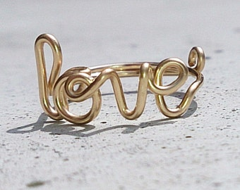 TRUE LOVE - Twist him around your finger. Wire word ring. Available in 14K Gold-filled wire.