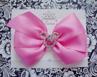 Girls hairbow, pink mouse hairbow