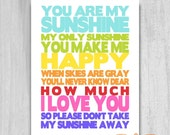 You Are My Sunshine Rainbow Typography Nursery Inspirational Word Art Printable DIY Baby Shower Gift Decor Digital Download