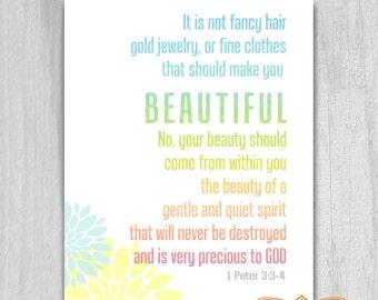 Bible Verse Beauty 1 Peter 3 4DIY Printable Art 8x10 Rainbow Girls Decor Always Print