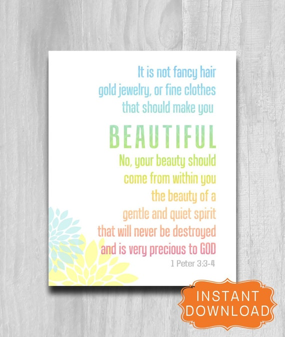 Bible Verse Beauty 1 Peter 3 3 4DIY Printable Art 8x10