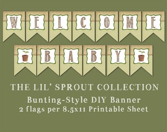 the Lil' Sprout Collection - Bunting Style Banner Printable - DIY Baby Shower Decorations - Home Grown Baby