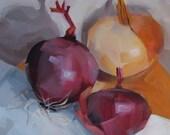 Purple Onion, Brown Onion, Original Oil Painting