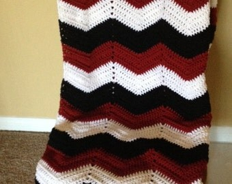 Adult size chevron crochet black, white and maroon sports team blanket