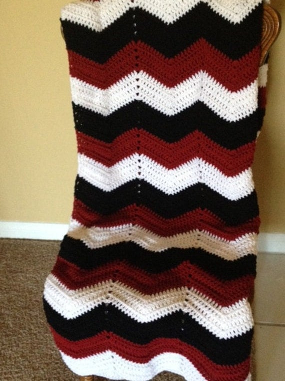 Adult size chevron crochet black white and maroon sports team