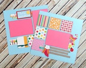 Premade Scrapbook Pages - 12x12 - Summer Theme Scrapbook Layouts - Double Page - Hello Sunshine