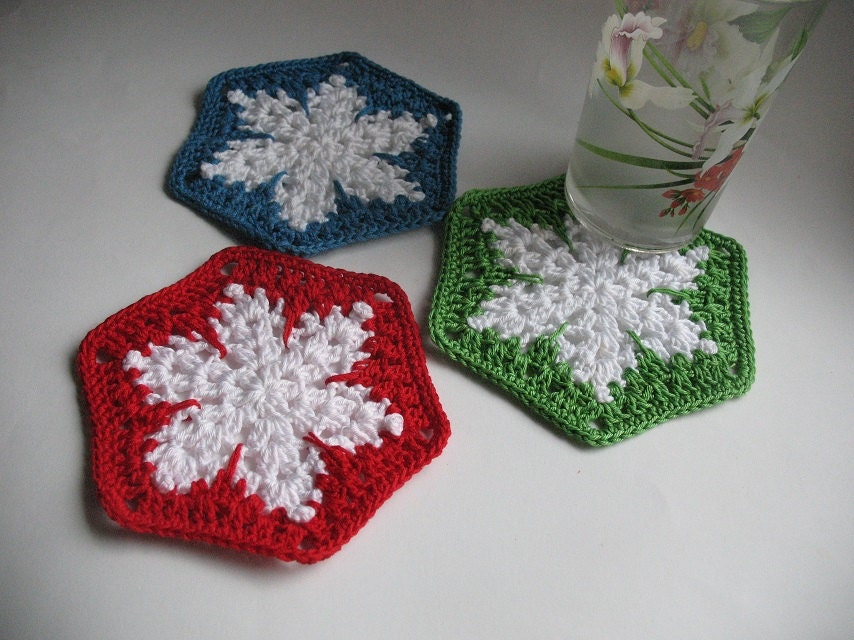 Crochet Coasters as white snowflakes Christmas gift Set of 3