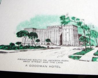 Circa 1950's Vintage Orig Beautiful Architecture Fine Linen Logo Hotel Windermere Chicago Illinois 56th Street Jackson Park Stationery Paper