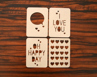 Project Life-Inspired 3x4 Journaling Cards Set - I Love You Hearts Design Kraft Cardstock