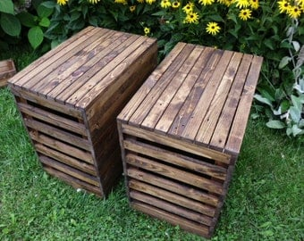 Two Side Tables From Reclaimed Wood With English Chestnut, Night Stands, Pallet Furniture, End Tables
