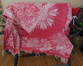Closing Shop Sale - Vintage Antique Tablecloth Damask Turkey Red as is Craft or cutter Piece