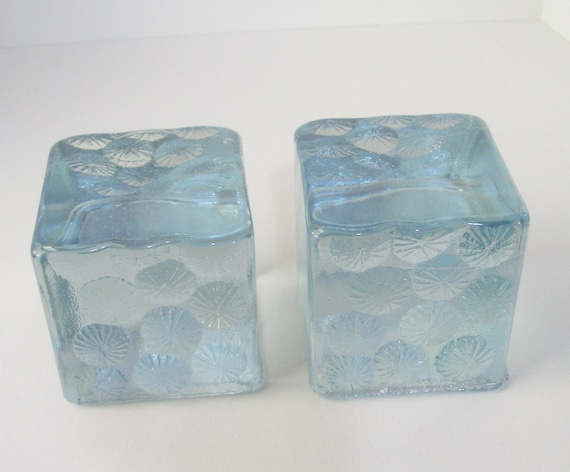 Vintage  Starburst Ice Blue 4in CUBE BOOKENDS, Older Blenko Handmade Label, Wayne Husted Art Glass USA