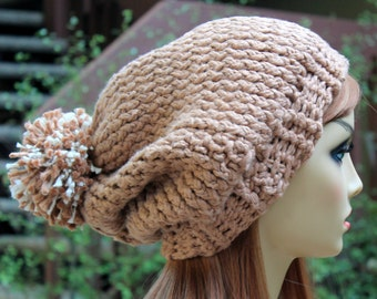 Hand Knit, 100 Percent Organic Cotton, Light Brown, Tan, Over Sized, Slouchy Beanie Hat with Large Shaggy Brown and Cream Pom Pom Woman Man