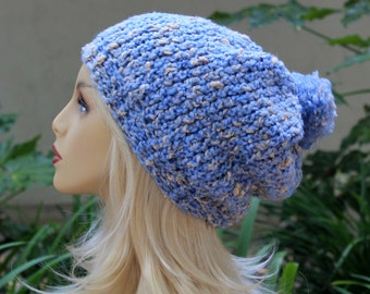 Hand Knit, Light, Sky Blue, Cream Flecks, Acrylic/Polyester/Cotton, Slouchy, Beanie Hat with Two Inch Headband Medium Pom Pom Man Woman