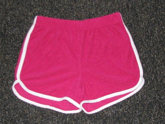 ROLLER GIRL // Hot PINK Terry Cloth Shorts 80's White Sexy Summer Beach Vacation Pool Side Rollerskating Derby Size S M