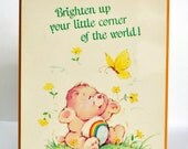 Care Bears 1982 wall hanging / Plaque,  Cheer Bear with Butterfly
