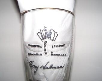 Vintage 1970 Indy 500 Motor Speedway Tony Hulman Souvenir Drink Glass Tumbler Collectible