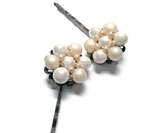 Pearl Hair Pins Vintage Cluster Earrings  Bridal Iridescent white and pink