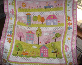 handmade baby quilt, Dena Happi whole cloth quilt, Pink quilt a baby girl blanket