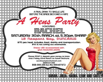 Vintage Pin Up Girl  Invitation- Bachelorette weekend, Hens night, Lingerie Shower Birthday invite diy print file PRINT YOUR OWN
