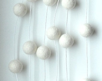 Wool ball garland - pom pom garland, felt ball garland, white garland, natural nursery, white felt balls, woodland garland, nursery decor