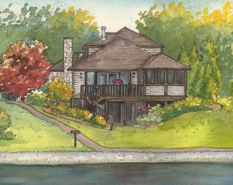 Portrait of your home in watercolor, Painted portrait of your house, Custom landscape painting