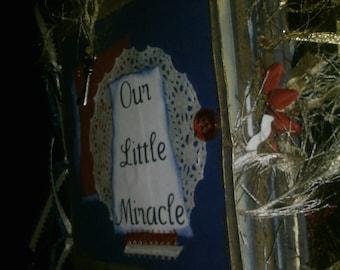 5x5 Premade Paperbag ScrapbookOue Little Miracle Baby Scrapbook Album Paperbag Cute Vintage Tim Holtz Inspired
