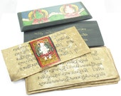Hand Painted Tibetan Monk's Wood Prayer Book with Decorated Pages