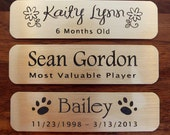 "Engraved Solid Brass Plate Picture Frame Art Label Name Tag 3"" x 3/4"" with Adhesive on Back"