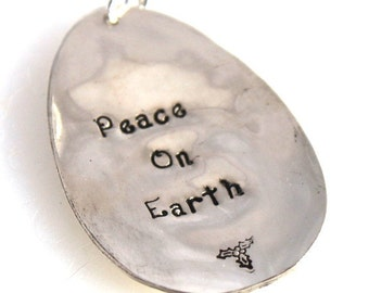 Peace On Earth VINTAGE SPOON ORNAMENT Christmas Ornament Silverware Ornament Keepsake Gift Under 15 Made in Usa