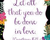 Instant Download Floral Bible Verse