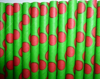 25 Green with Red Polka Dot Paper Straws-  Food Safe, Biodegradeable, Soy Based Ink-Christmas Decorations- Party Straw