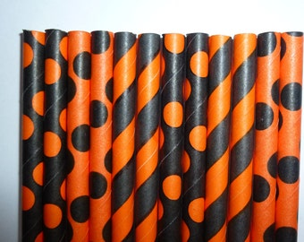 25 Orange and Black Halloween Mixed Paper Straws- Halloween Decorations, Cake Pops, Spooky Party
