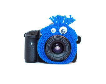 Blue Monster Camera Buddy, Crochet Camera Critter, Monster Lens Bling, Photography Prop, Camera Accessory, Photographer Gift,
